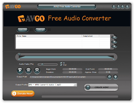 avgo free audio converter interface